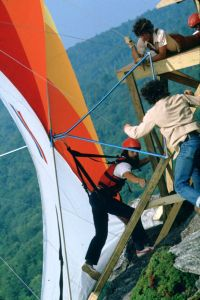 Ramp crew catches a hang glider that crashed on launch at Grandfather Mountain in September 1975