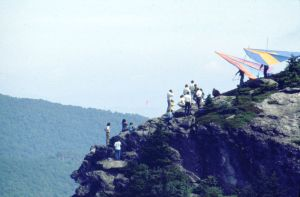 Hang gliders atop Grandfather Mountain in August 1974