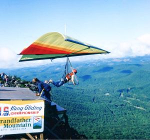 Standard Rogallo hang glider with fairings on exposed tubes at Grandfather Mountain in September 1975