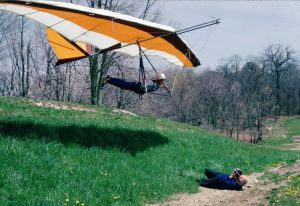 Tom Peghiny launching in his Jaguar at or near Grandfather Mountain in May 1978