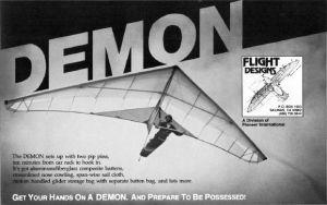 Flight Designs Demon advert in Glider Rider, March 1982