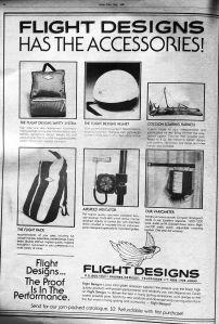 Flight Designs hang gliding accessories advert