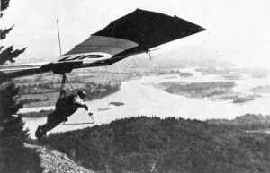 Hang glider launching in Canada