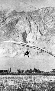 Tim Joseph in a Seagull 11 Meter in the Owens Valley with the White Mountains behind
