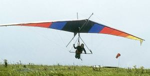 Mike Hibbitt launching in a Wasp Gannet/Super Gryphon hang glider