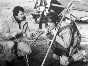 Boris Popov with actor Gary Busey (clipped in to glider) in Foolin Around, 1979