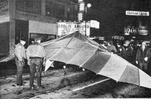 Boris Popov's glider in the street outside the movie theater on opening night of Foolin Around