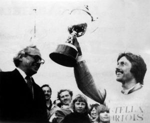 Brian Wood holds the trophy at Steyning in 1974
