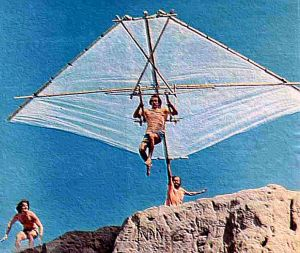 Hang glider pioneer Dick Eipper launching at Torrance beach