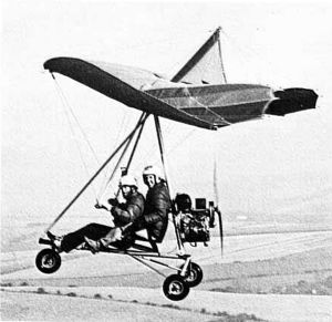 Southdown Sailwings Puma trike power unit with Lightning II hang glider in 1981