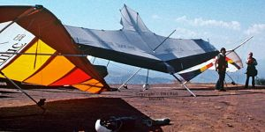 Carlos Miralles with a Spectra Aircraft Corporation Zodiac (left, and two Aoli hang gliders
