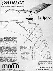 Manta Mirage advert in 'Hang Gliding', March 1977