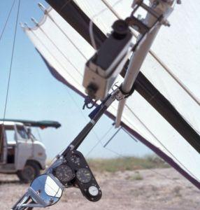 Eight millimetre movie camera to record flight instrument readings