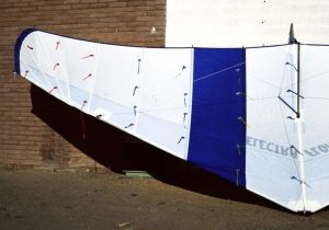 Electra Flyer Floater hang glider with yarn tufts attached to the sail