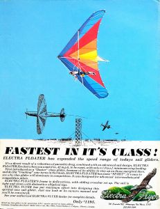 Electra Flyer Floater advert in Hang Gliding, May 1979