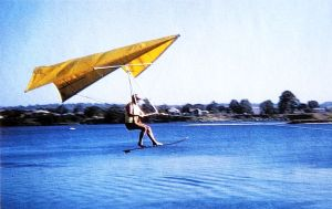 John Dickenson tows up in a flex-wing hang glider of his own design 1965
